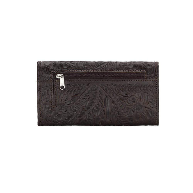 American West Wallets Distressed Chocolate Brown Ladies Tri-Fold Tooled Leather Wallet by American West