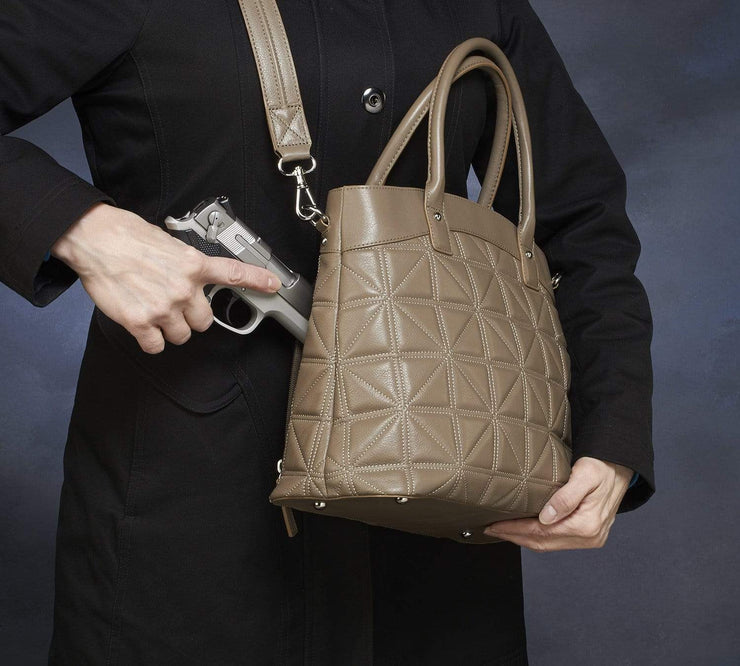 Gun Tote'n Mamas Concealed Carry Purse Concealed Carry Taupe Embroidered Town Tote by Gun Tote'n Mamas - GTM-68