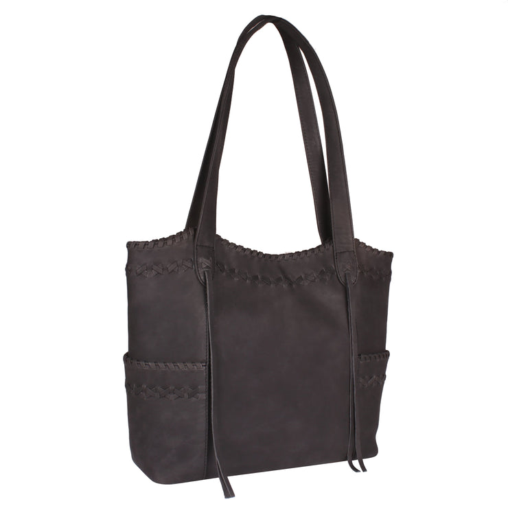 Lady Conceal Concealed Carry Purse Black Concealed Carry Kendall Leather Stitched Tote by Lady Conceal