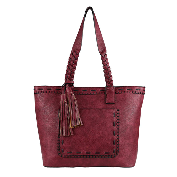 Lady Conceal Concealed Carry Purse Burgundy Concealed Carry Sophia Stitched Tote by Lady Conceal