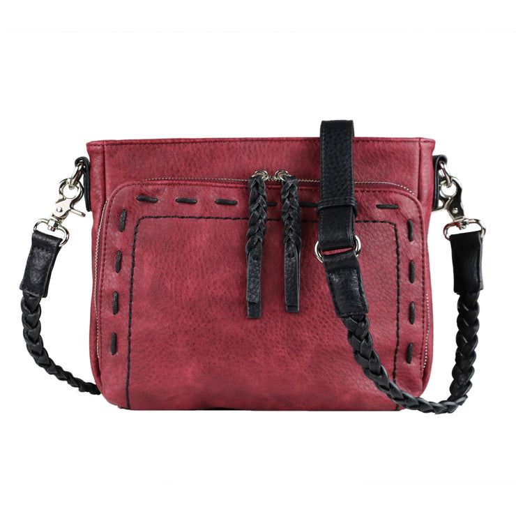 Lady Conceal Concealed Carry Purse Burgundy Concealed Carry Stitched Skylar Crossbody Organizer by Lady Conceal