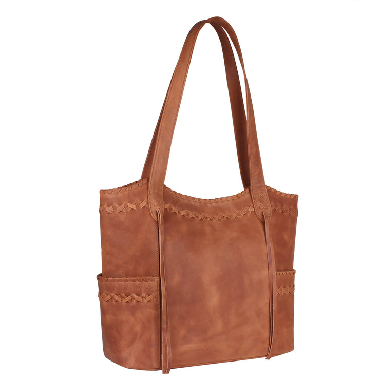 Lady Conceal Concealed Carry Purse Cognac Concealed Carry Kendall Leather Stitched Tote by Lady Conceal