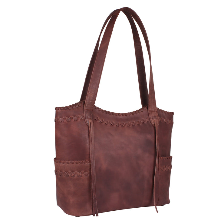 Lady Conceal Concealed Carry Purse Mahogany Concealed Carry Kendall Leather Stitched Tote by Lady Conceal