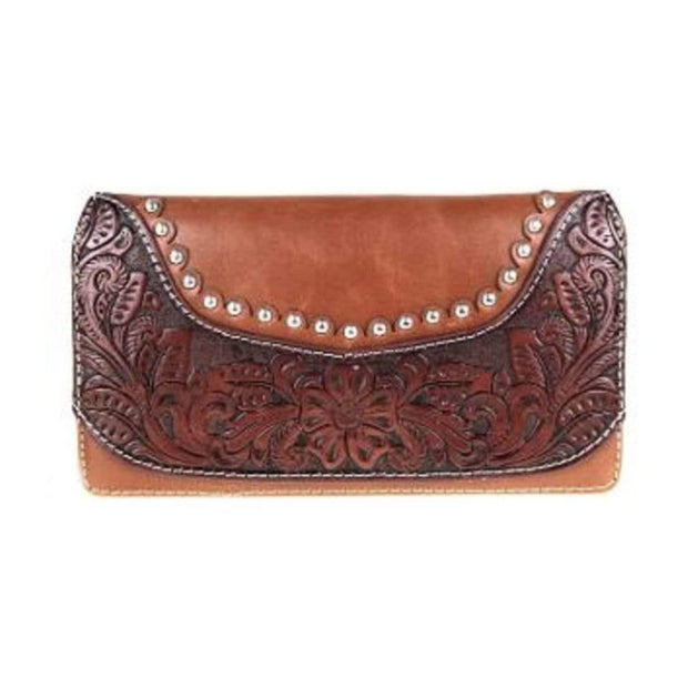 Montana West Wallets Brown Tooled Wallet by Montana West