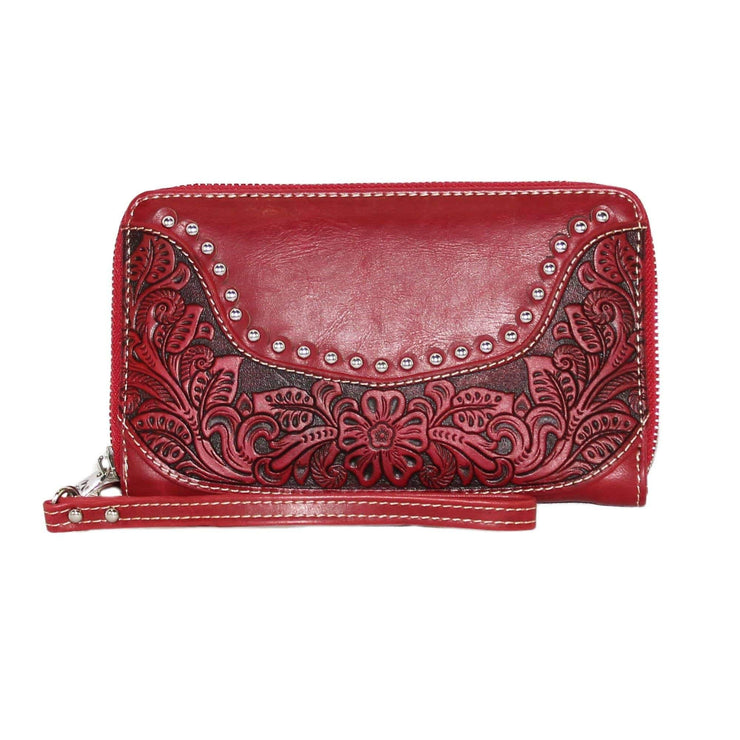 Montana West Wallets Red Tooled Wallet by Montana West