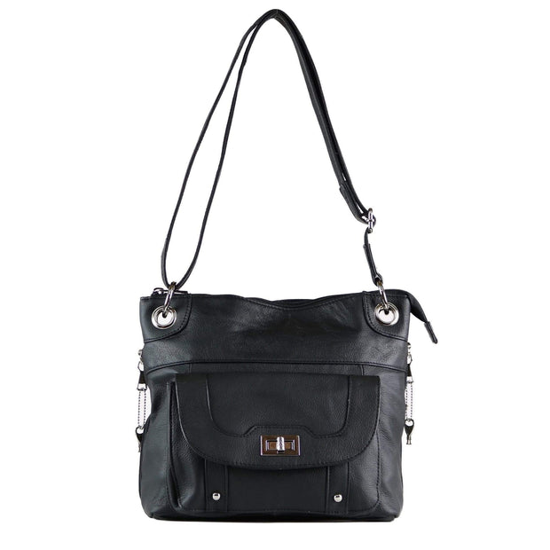 Roma Leathers Concealed Carry Purse Black Concealed Carry Twist Lock Pocket Crossbody by Roma Leathers