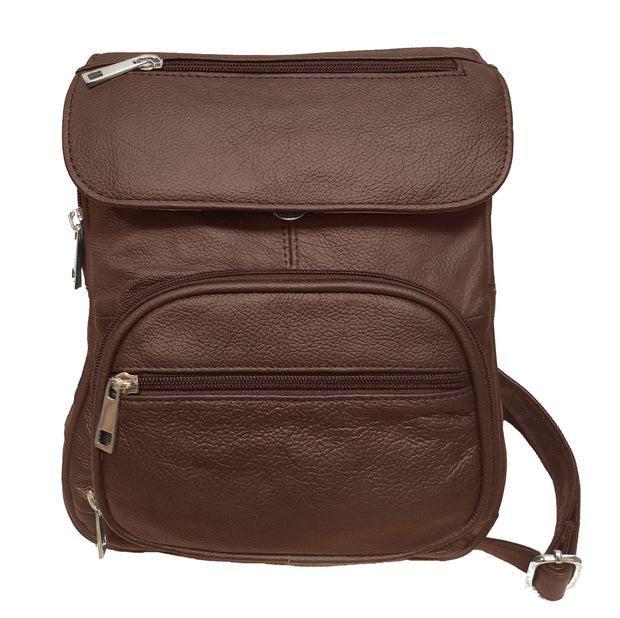 Roma Leathers Concealed Carry Purse Brown Concealed Carry Backpack Crossbody Organizer Bag by Roma Leathers