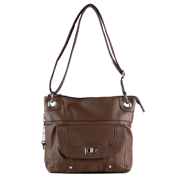 Roma Leathers Concealed Carry Purse Brown Concealed Carry Twist Lock Pocket Crossbody by Roma Leathers