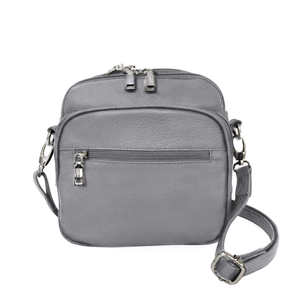 Roma Leathers Concealed Carry Purse Gray Concealed Carry Leather Crossbody Organizer by Roma Leathers