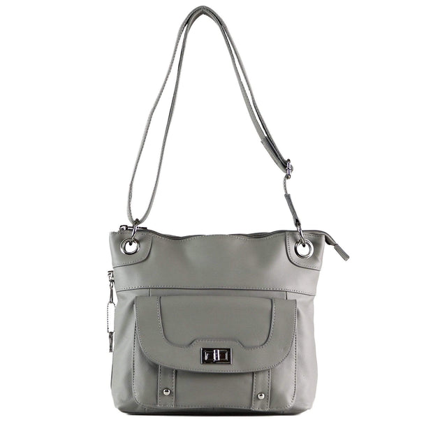 Roma Leathers Concealed Carry Purse Gray Concealed Carry Twist Lock Pocket Crossbody by Roma Leathers