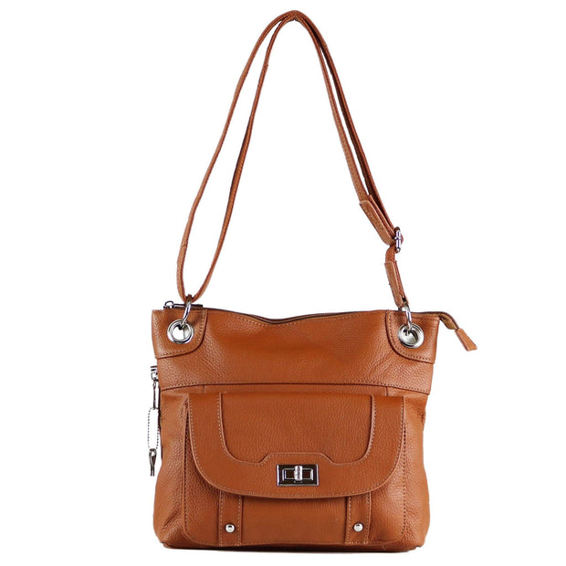 Roma Leathers Concealed Carry Purse Light Brown Concealed Carry Twist Lock Pocket Crossbody by Roma Leathers