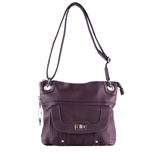 Roma Leathers Concealed Carry Purse Purple Concealed Carry Twist Lock Pocket Crossbody by Roma Leathers