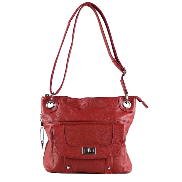 Roma Leathers Concealed Carry Purse Red Concealed Carry Twist Lock Pocket Crossbody by Roma Leathers