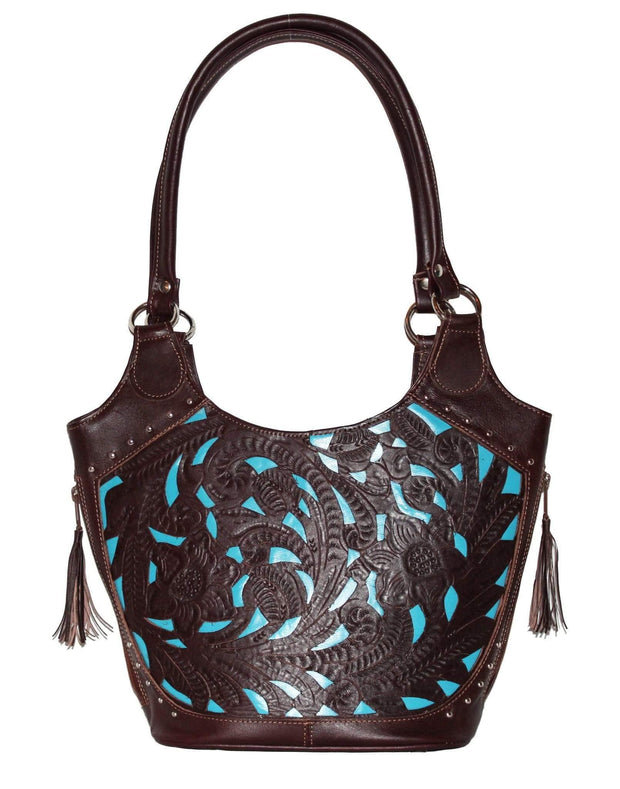 Ropin West Concealed Carry Purse Brown/Turquoise Concealed Carry Leather Inlaid Bucket Purse by Ropin West