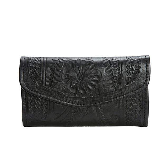 Ropin West Wallets Black Hand Tooled Leather Tri-fold Wallet by Ropin West