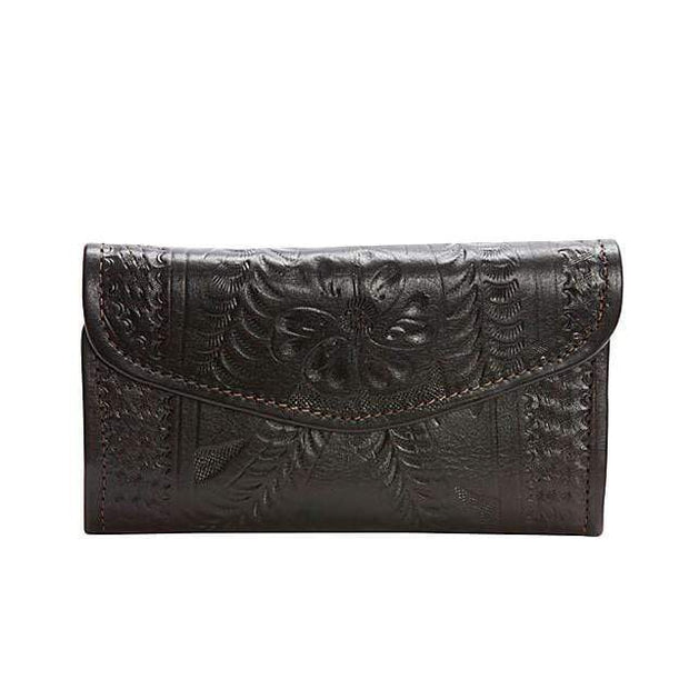 Ropin West Wallets Brown Hand Tooled Leather Tri-fold Wallet by Ropin West