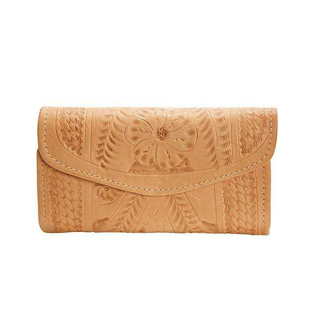 Ropin West Wallets Natural Hand Tooled Leather Tri-fold Wallet by Ropin West