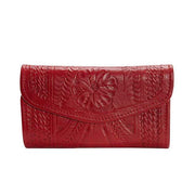 Ropin West Wallets Red Hand Tooled Leather Tri-fold Wallet by Ropin West