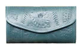 Ropin West Wallets Turquoise Hand Tooled Leather Tri-fold Wallet by Ropin West