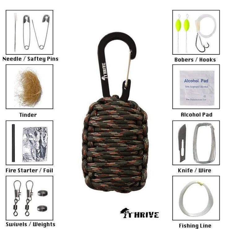 Thrive Gifts Paracord Carabiner Survival Keychain Kit by Thrive - Army Green Camo
