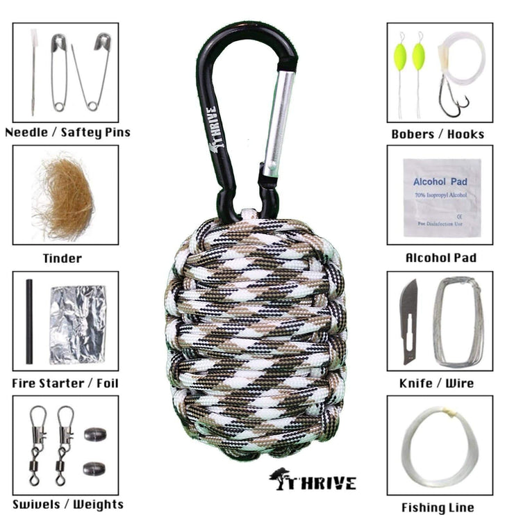 Thrive Gifts Paracord Carabiner Survival Keychain Kit by Thrive - Kitten