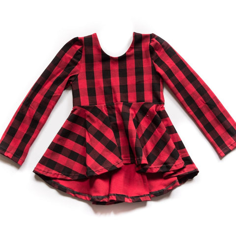 Buffalo Plaid High-Low Peplum Tunic