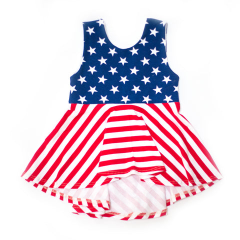 Stars and Stripes High-Low Peplum Tunic