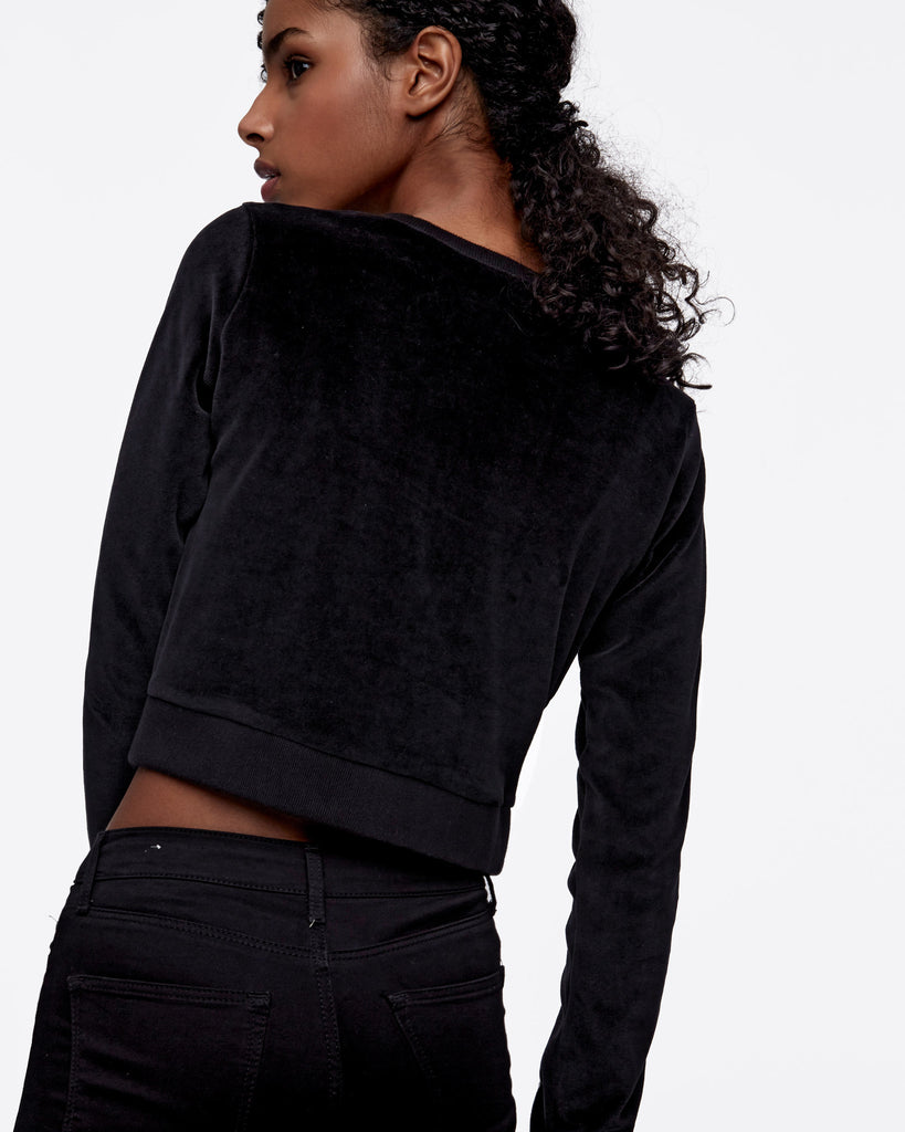 Cropped Velour Crewneck
