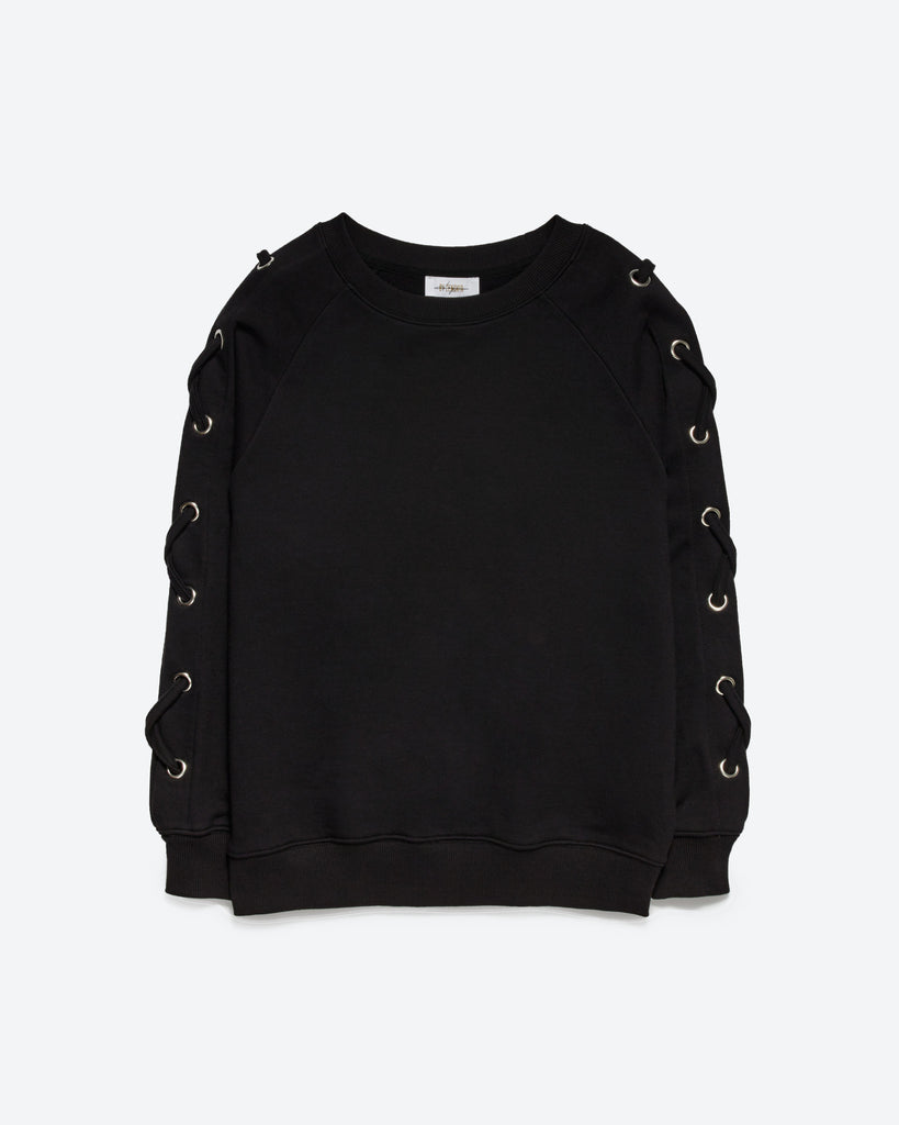 Black LACE UP SWEATSHIRT