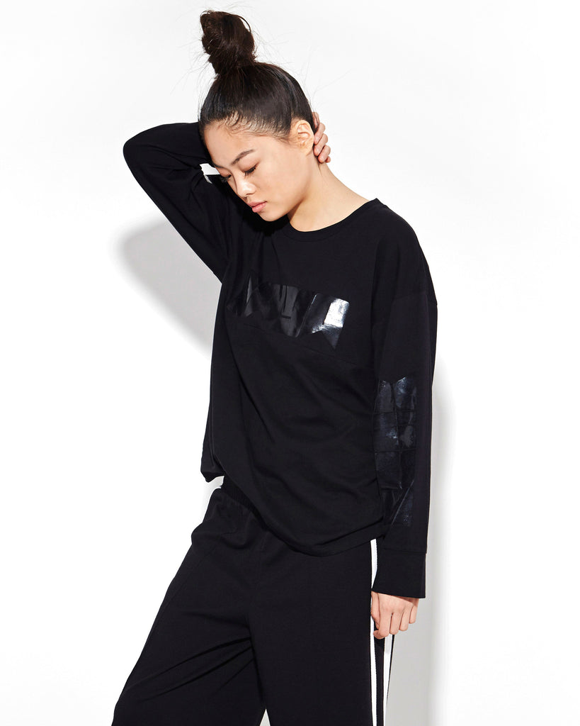 BLACK LONG SLEEVE OVERSIZE TEE