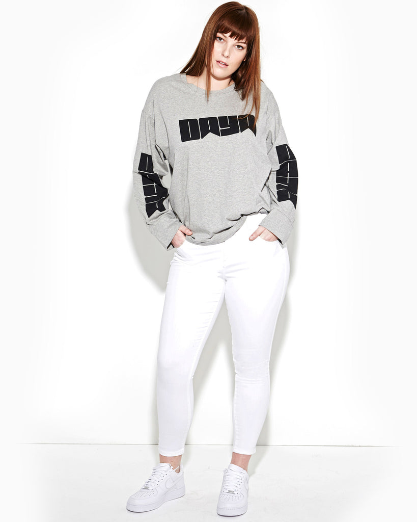 LIGHT HEATHER GREY LONG SLEEVE OVERSIZE TEE