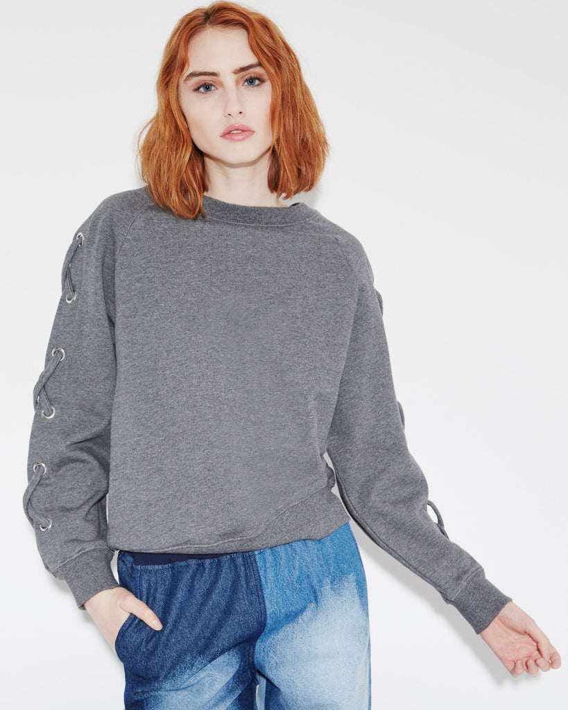 Heather Charcoal LACE UP SWEATSHIRT