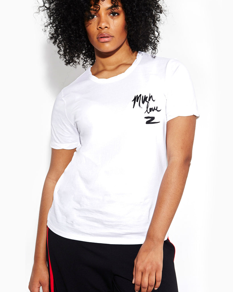 WHITE ROLLED TOMBOY SLEEVE TEE