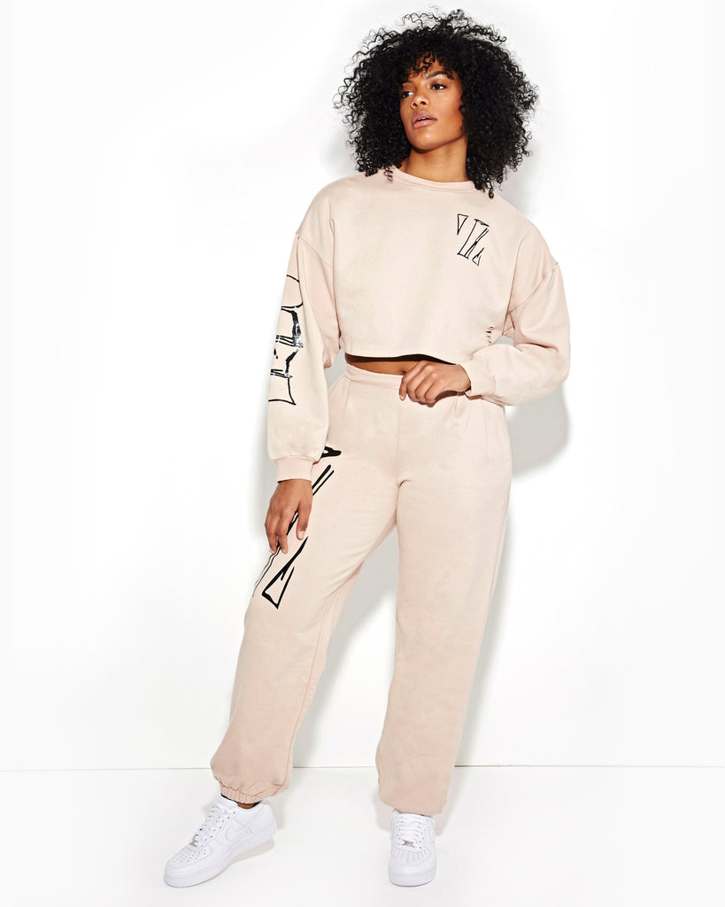 POWDER ROUNDED PLEATED SWEATPANT