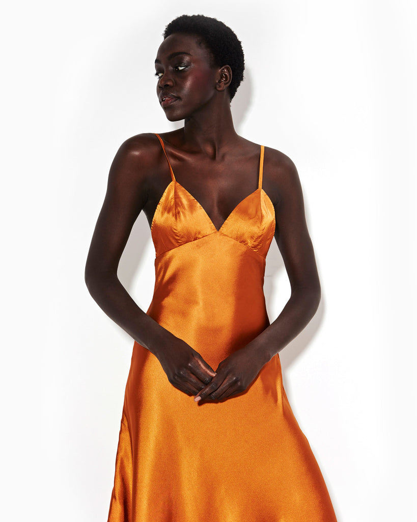 RUST SATIN SLIPDRESS