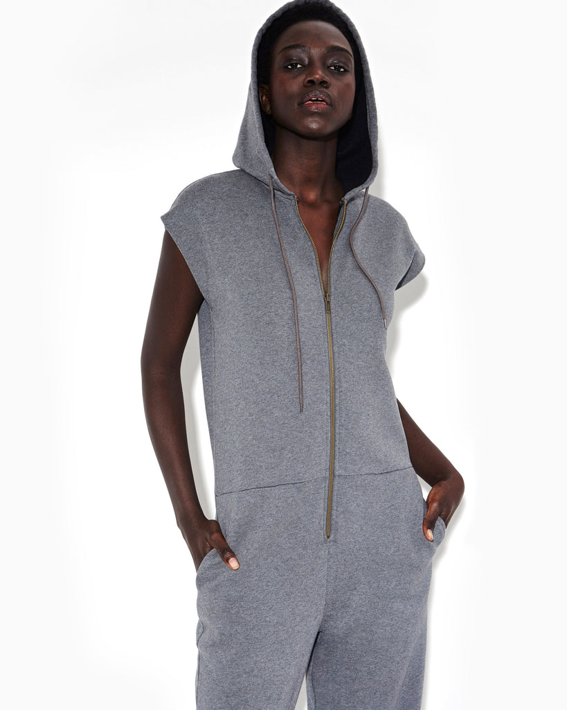 CHARCOAL HEATHER ZIP UP SWEATSHIRT JUMPSUIT WITH HOOD