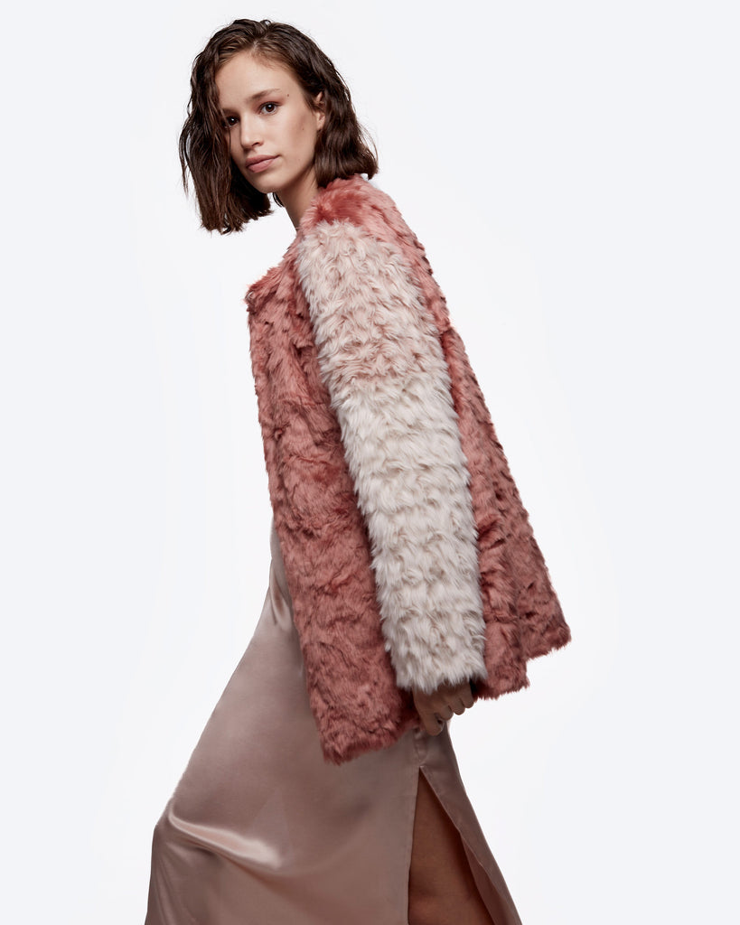Tri-Color Faux Fur Coat