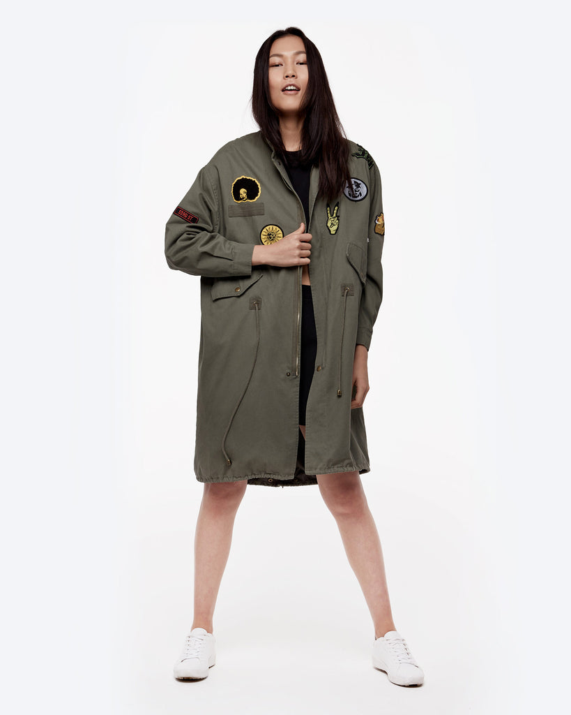 Oversized Patched Military Anorak