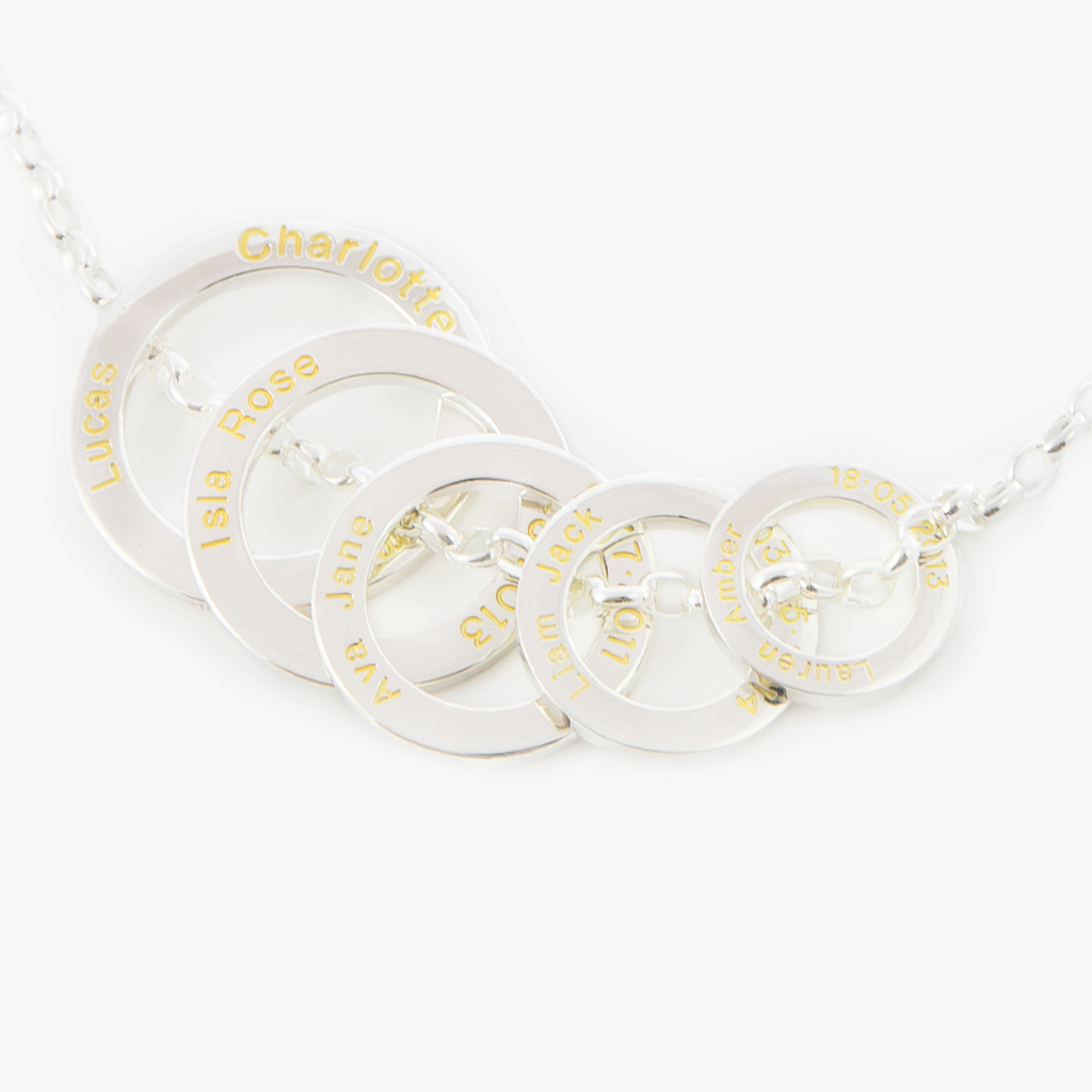 Five solid sterling silver loops representing the circle of life