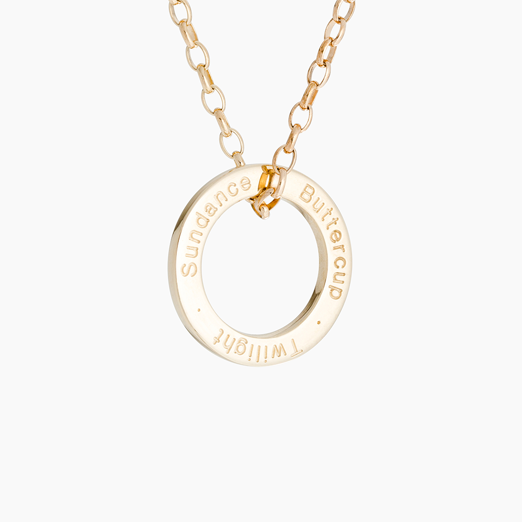 Solid gold loop and chain with personalised pony names engraved