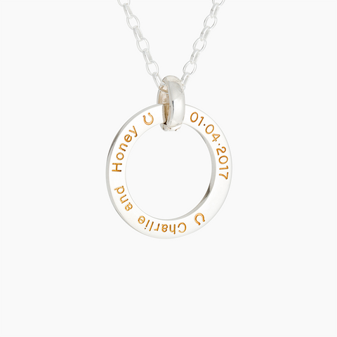 Silver and gold engraved named pendant necklace