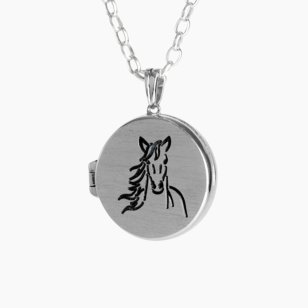 horse head silver locket engraved