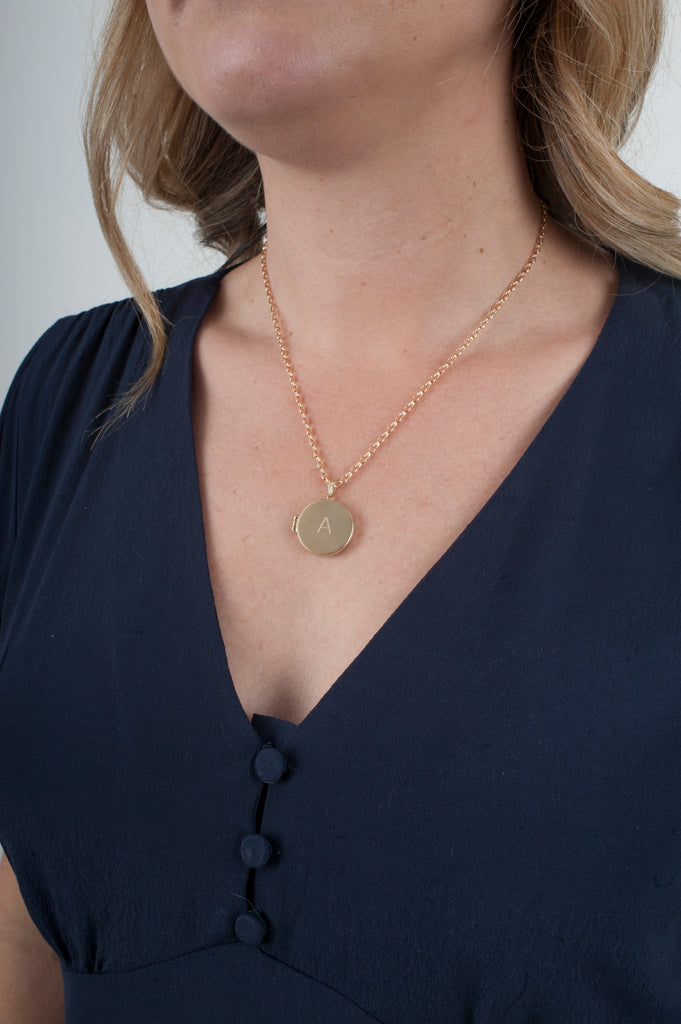 Gold locket necklace with initial engraved and gold chain
