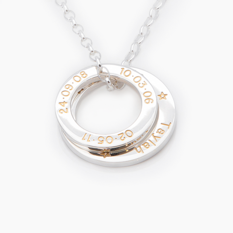 Gold fill engraved rings with silver chain NZ