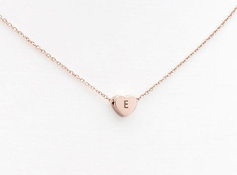 Rose gold LoveHeart initial jewelry