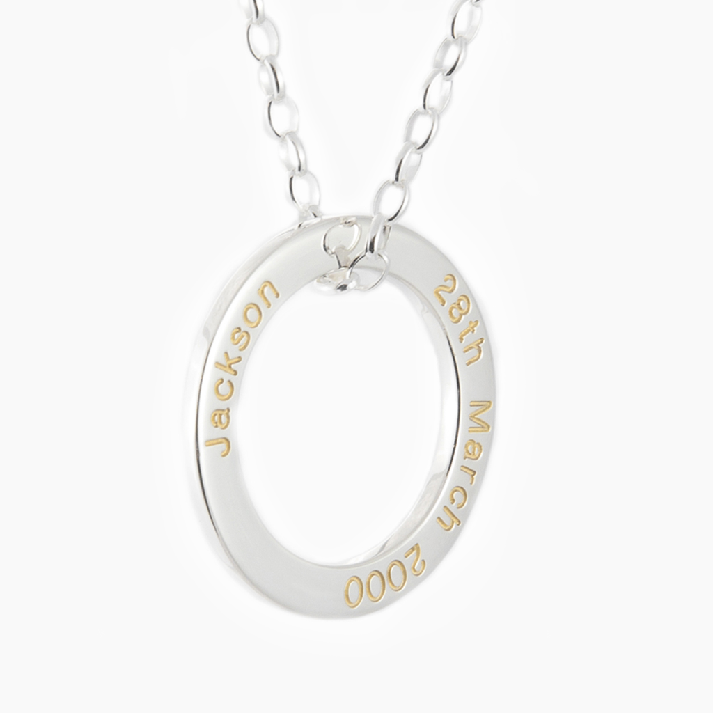 Silver LoveLoop With Gold Engraving