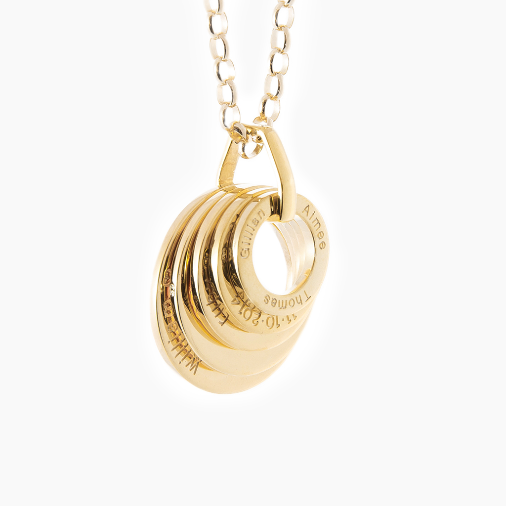 Dazzle yellow gold five loop pendant for mums and grandmothers