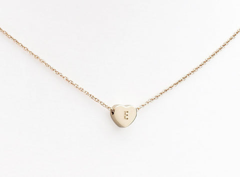 Initial necklace hand engraved yellow gold heart and chain