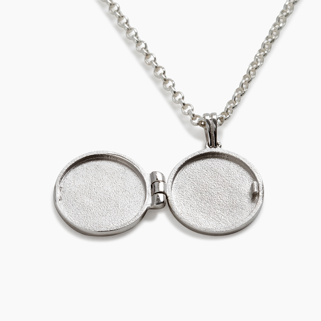 Silver locket with personalised engraving on chain made in NZ