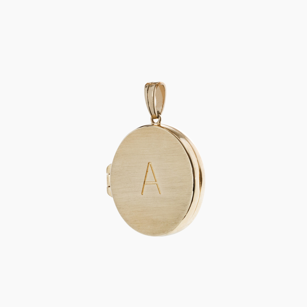 Solid gold locket charm with engraved letters